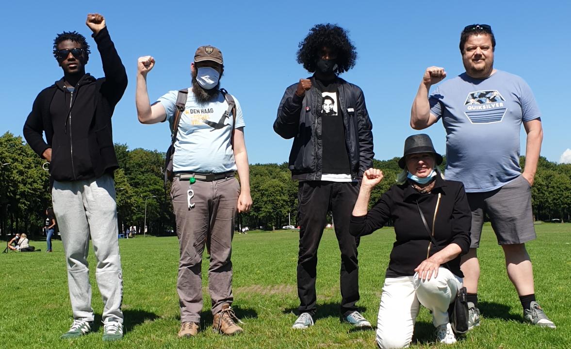 Klimaatactivisten bij Black Lives Matter protest in Den Haag.