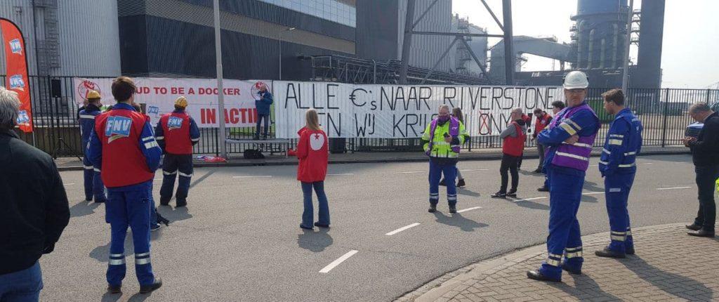 Protest kolenwerkers voor PPR/ONYX centrale in Rotterdam | Foto: Philip Blok